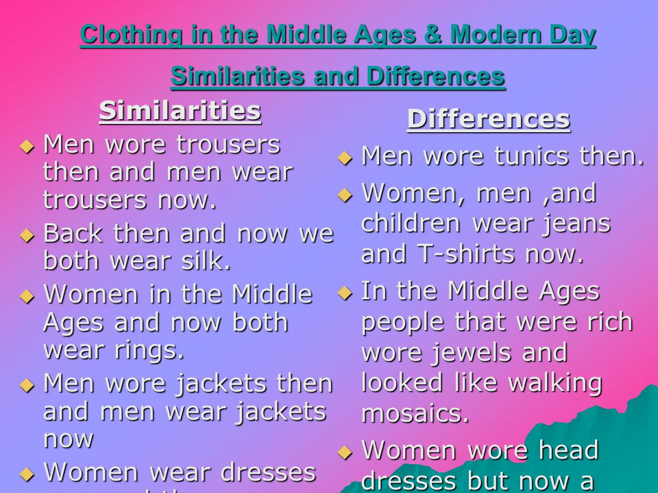 Modern day clothing When men and women go to work men wear suits, and women wear skirts and dresses.