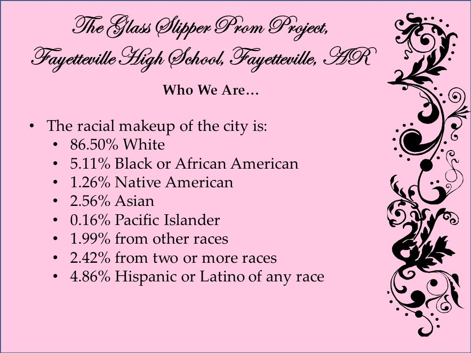 The Glass Slipper Prom Project, Fayetteville High School, Fayetteville, AR Who We Are… The racial makeup of the city is: 86.50% White 5.11% Black or African American 1.26% Native American 2.56% Asian 0.16% Pacific Islander 1.99% from other races 2.42% from two or more races 4.86% Hispanic or Latino of any race