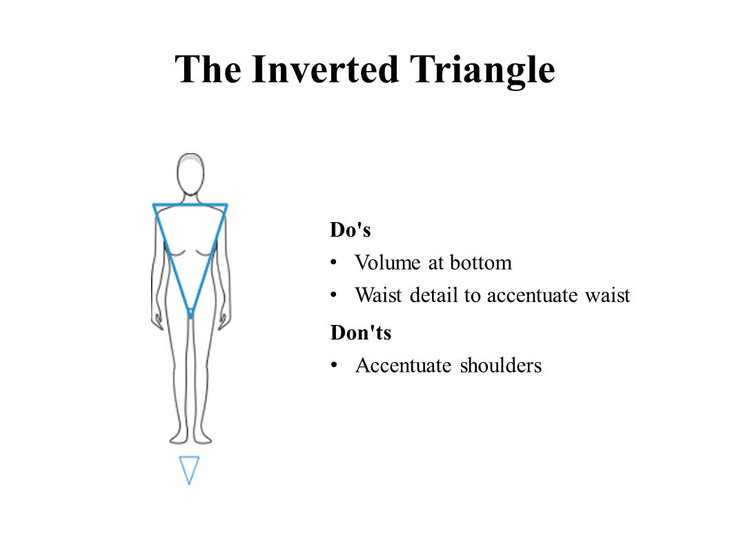 The Inverted Triangle Do s Volume at bottom Waist detail to accentuate waist Don ts Accentuate shoulders