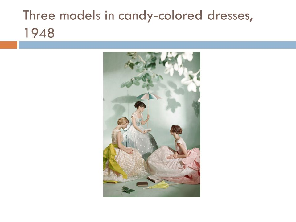 Three models in candy-colored dresses, 1948