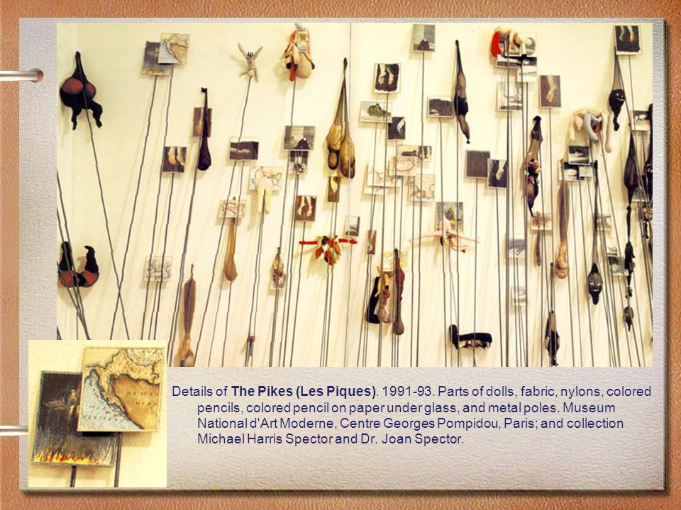Details of The Pikes (Les Piques). 1991-93. Parts of dolls, fabric, nylons, colored pencils, colored pencil on paper under glass, and metal poles. Mus