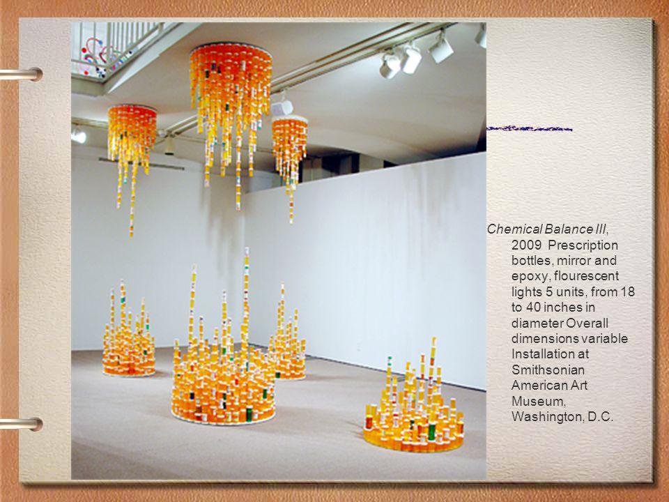 Chemical Balance III, 2009 Prescription bottles, mirror and epoxy, flourescent lights 5 units, from 18 to 40 inches in diameter Overall dimensions var