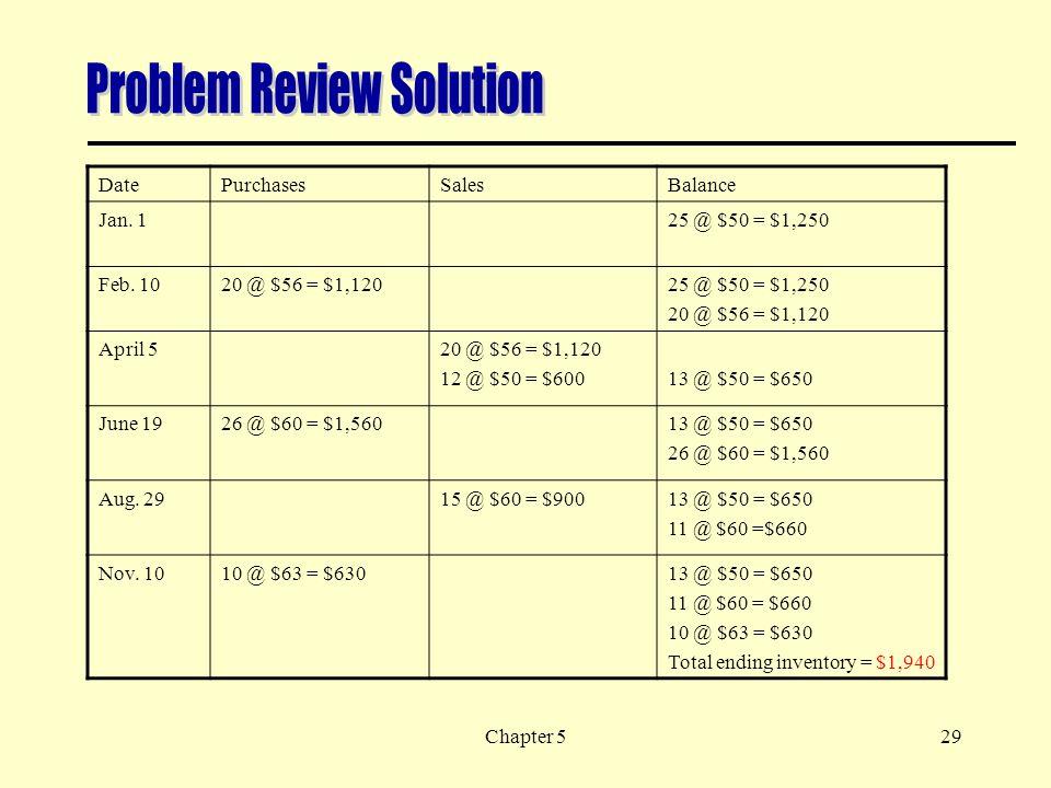 Chapter 529 DatePurchasesSalesBalance Jan.125 @ $50 = $1,250 Feb.