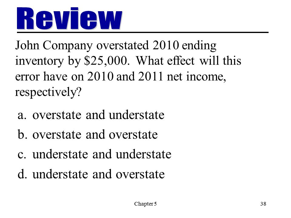 Chapter 538Chapter 538 John Company overstated 2010 ending inventory by $25,000.