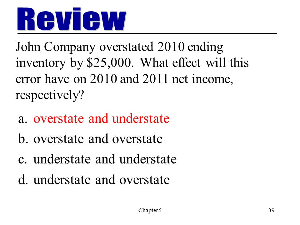 Chapter 539Chapter 539 John Company overstated 2010 ending inventory by $25,000.