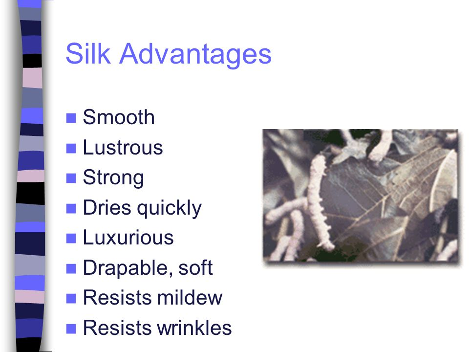 Silk Advantages Smooth Lustrous Strong Dries quickly Luxurious Drapable, soft Resists mildew Resists wrinkles