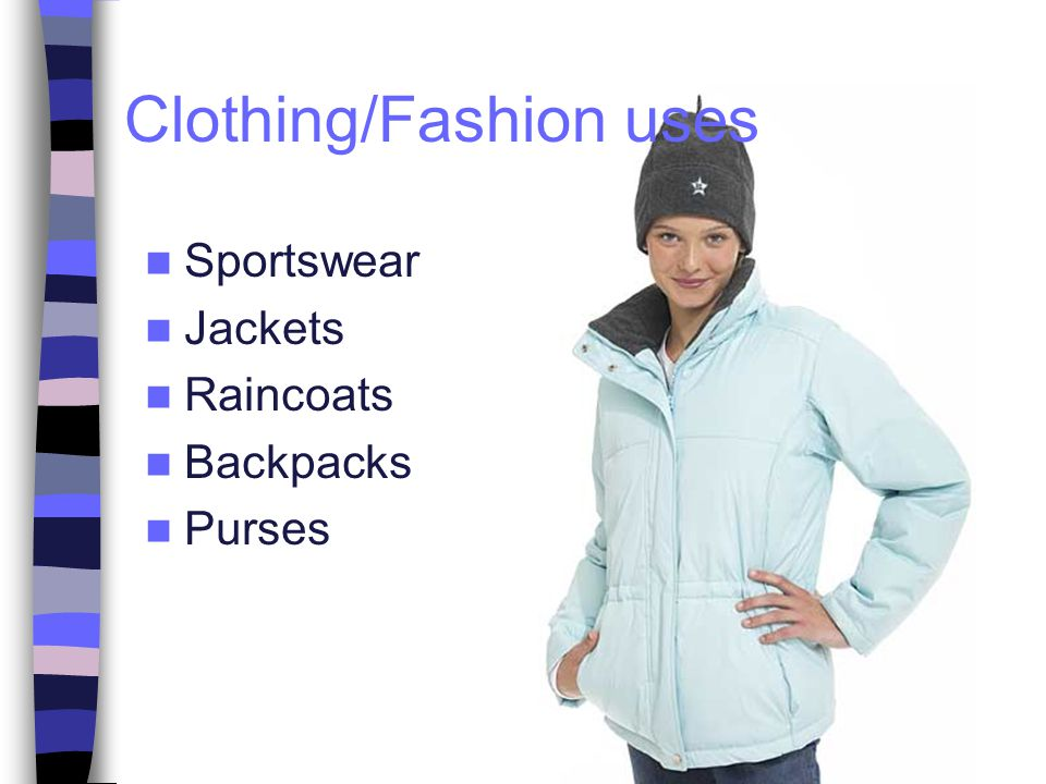 Sportswear Jackets Raincoats Backpacks Purses Clothing/Fashion uses