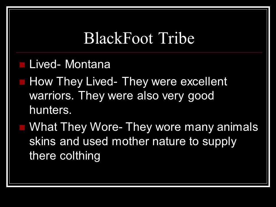BlackFoot Tribe Lived- Montana How They Lived- They were excellent warriors.