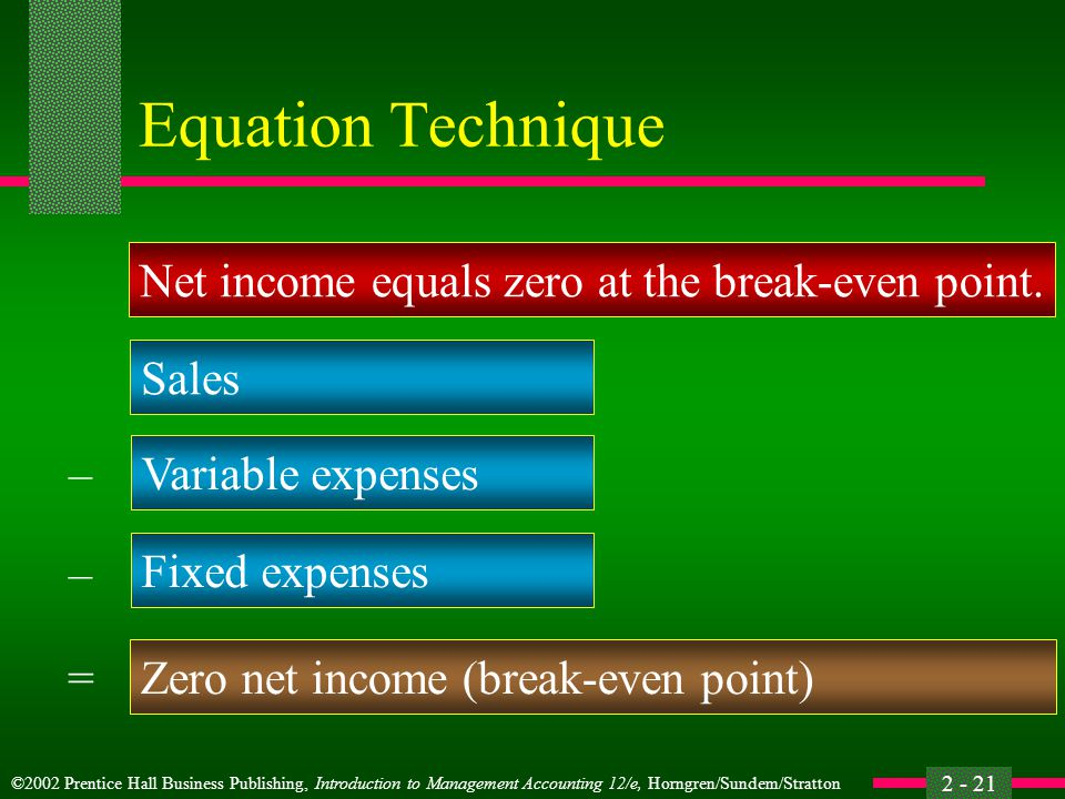 ©2002 Prentice Hall Business Publishing, Introduction to Management Accounting 12/e, Horngren/Sundem/Stratton 2 - 21 Equation Technique Net income equ