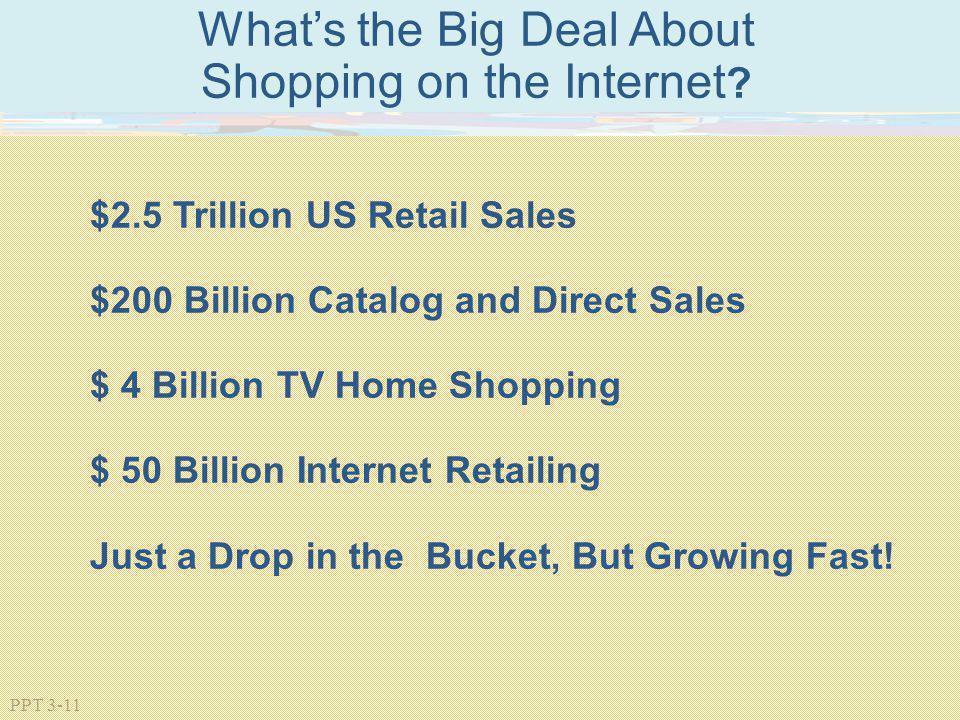 PPT 3-11 Whats the Big Deal About Shopping on the Internet ? $2.5 Trillion US Retail Sales $200 Billion Catalog and Direct Sales $ 4 Billion TV Home S