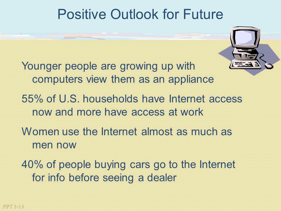 PPT 3-13 Positive Outlook for Future Younger people are growing up with computers view them as an appliance 55% of U.S. households have Internet acces