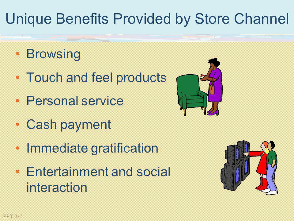 PPT 3-7 Unique Benefits Provided by Store Channel Browsing Touch and feel products Personal service Cash payment Immediate gratification Entertainment
