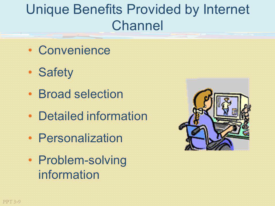 PPT 3-9 Unique Benefits Provided by Internet Channel Convenience Safety Broad selection Detailed information Personalization Problem-solving informati
