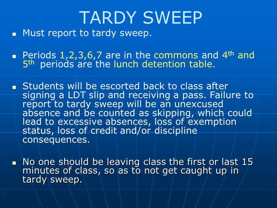 TARDY SWEEP Must report to tardy sweep.