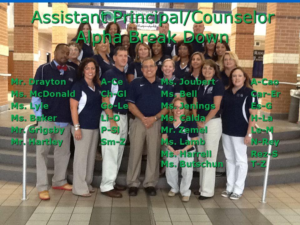 Assistant Principal/Counselor Alpha Break Down Mr.