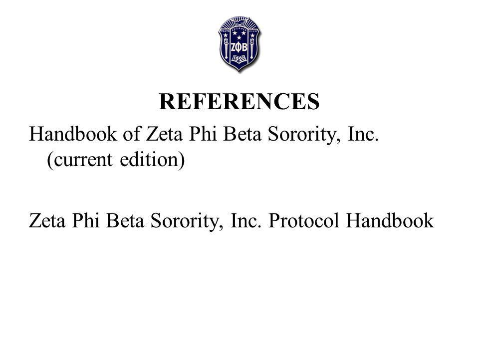 REFERENCES Handbook of Zeta Phi Beta Sorority, Inc.