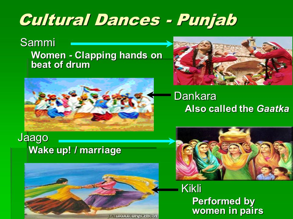 Dankara Also called the Gaatka Cultural Dances - Punjab Sammi Women - Clapping hands on beat of drum Jaago Wake up! / marriage Kikli Performed by wome