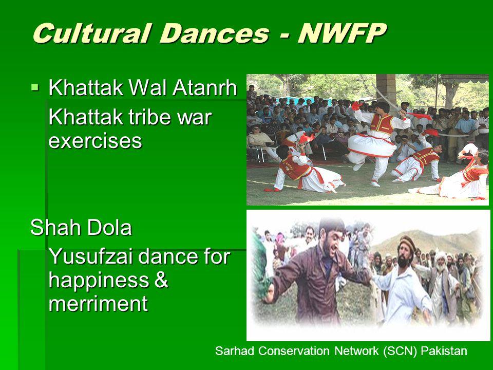 Cultural Dances - NWFP Khattak Wal Atanrh Khattak Wal Atanrh Khattak tribe war exercises Shah Dola Yusufzai dance for happiness & merriment Sarhad Con