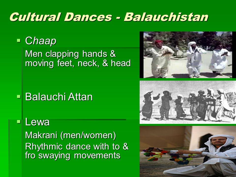 Cultural Dances - Balauchistan Chaap Chaap Men clapping hands & moving feet, neck, & head Balauchi Attan Balauchi Attan Lewa Lewa Makrani (men/women)