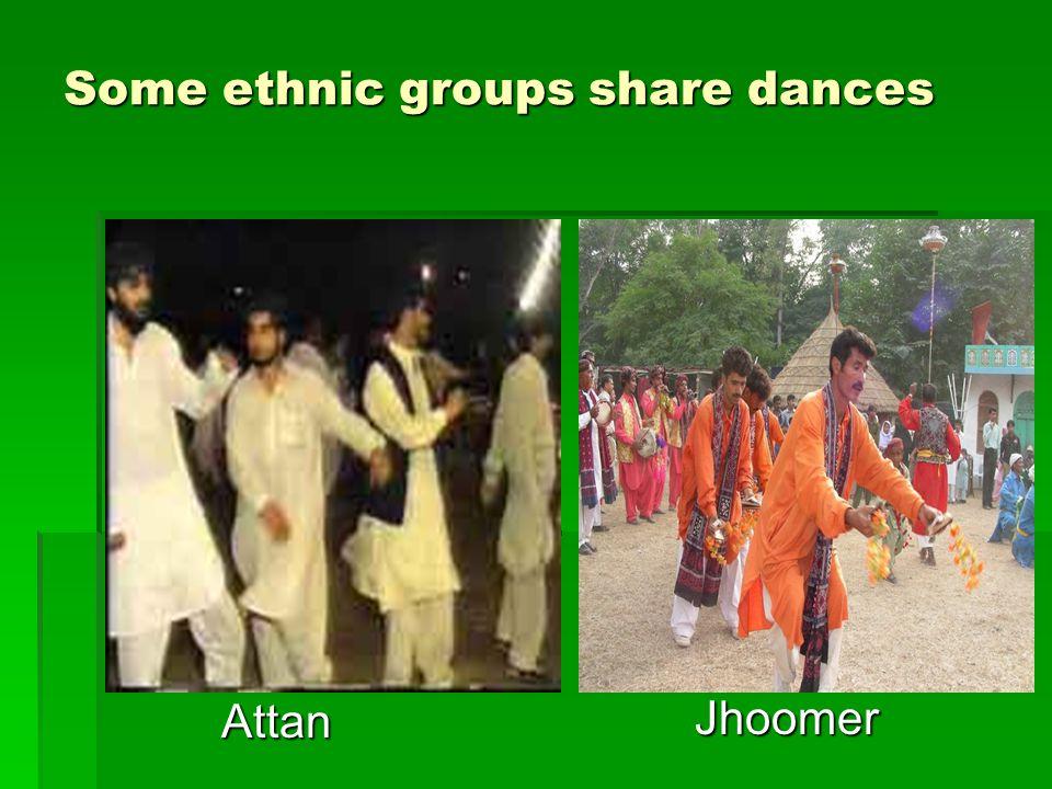 Some ethnic groups share dances Attan Jhoomer