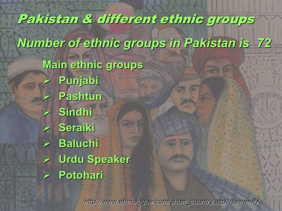Pakistan & different ethnic groups Main ethnic groups Punjabi Punjabi Pashtun Pashtun Sindhi Sindhi Seraiki Seraiki Baluchi Baluchi Urdu Speaker Urdu