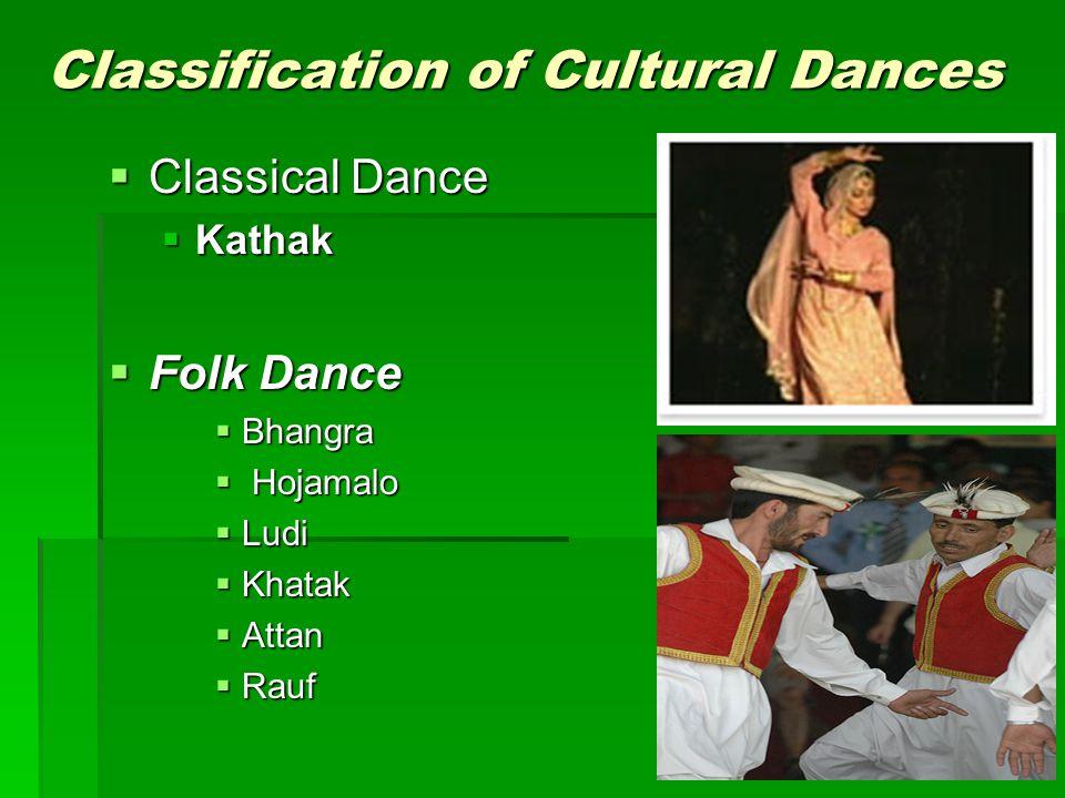 Classification of Cultural Dances Classical Dance Classical Dance Kathak Kathak Folk Dance Folk Dance Bhangra Bhangra Hojamalo Hojamalo Ludi Ludi Khat