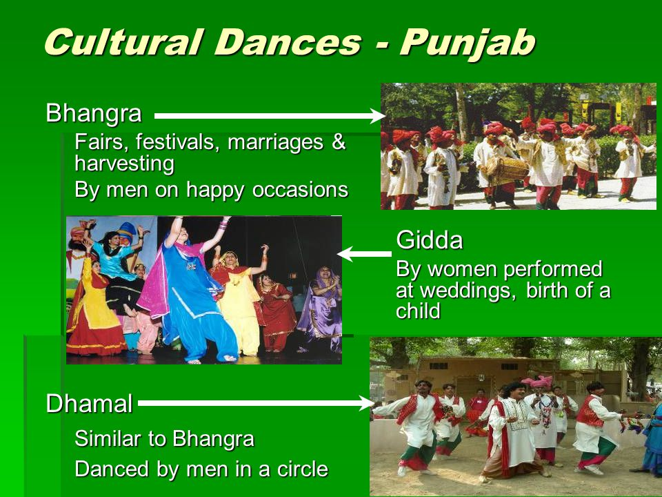 Cultural Dances - Punjab Bhangra Fairs, festivals, marriages & harvesting By men on happy occasions Dhamal Similar to Bhangra Danced by men in a circl