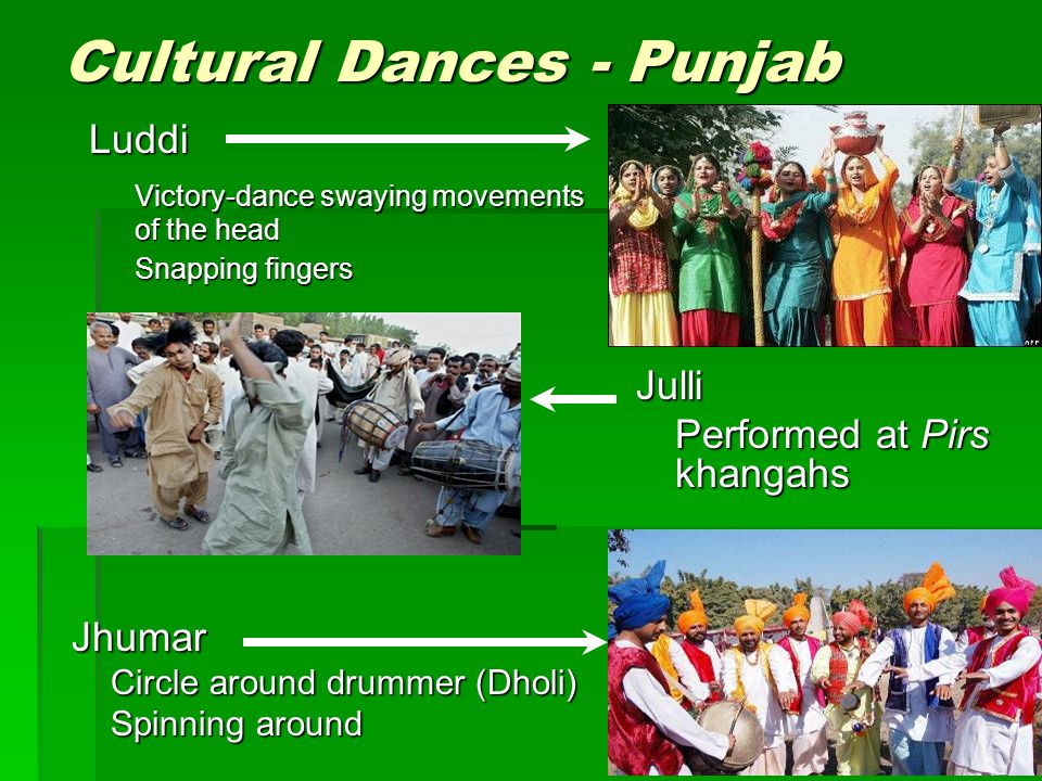 Cultural Dances - Punjab Jhumar Circle around drummer (Dholi) Spinning around Julli Performed at Pirs khangahs Luddi Victory-dance swaying movements o