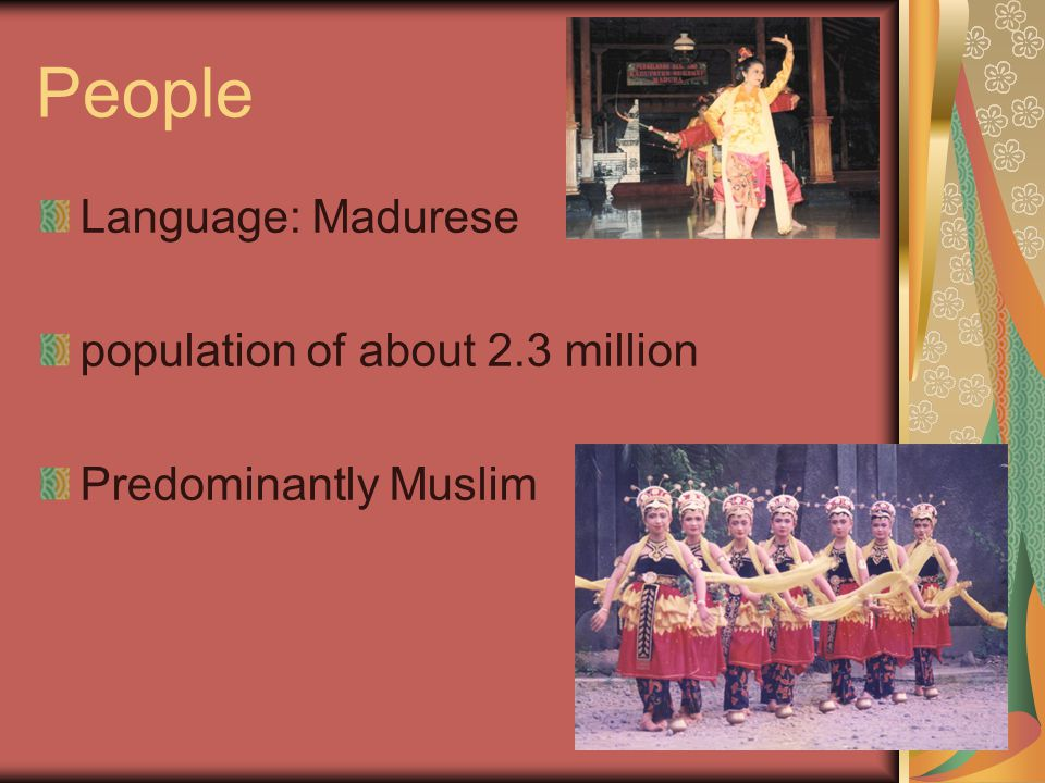 People Language: Madurese population of about 2.3 million Predominantly Muslim
