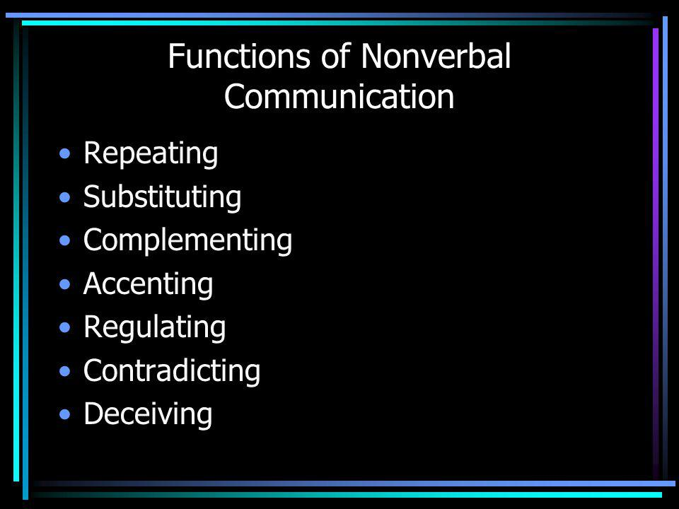 Functions of Nonverbal Communication Repeating Substituting Complementing Accenting Regulating Contradicting Deceiving