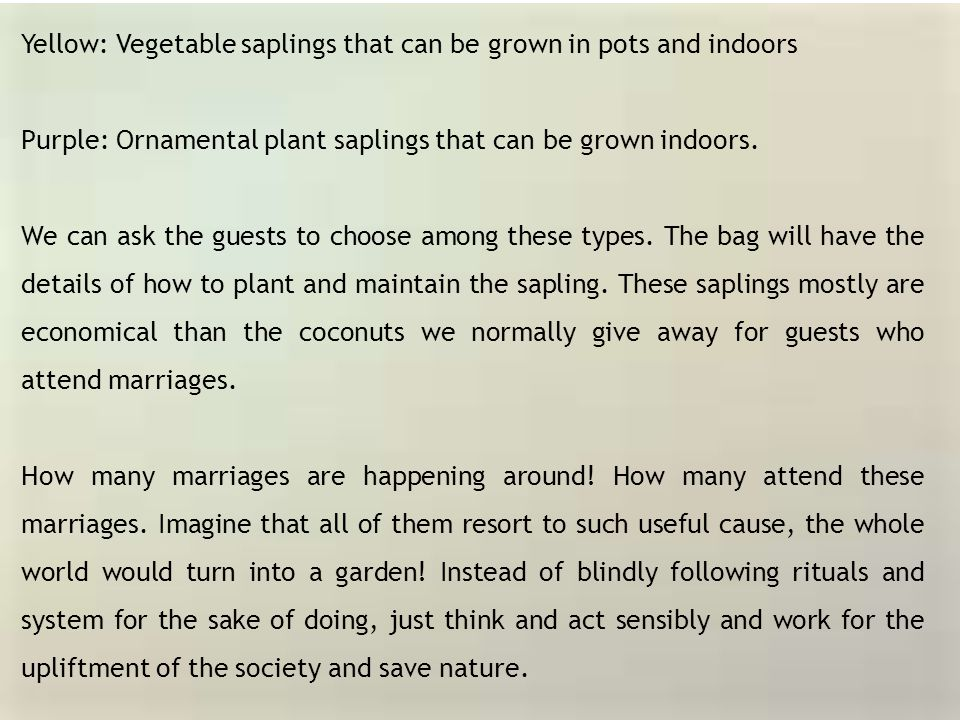 Yellow: Vegetable saplings that can be grown in pots and indoors Purple: Ornamental plant saplings that can be grown indoors. We can ask the guests to