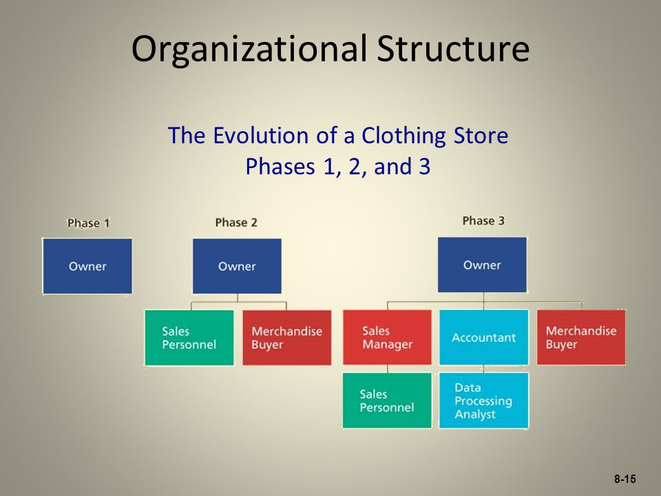 8-15 Organizational Structure The Evolution of a Clothing Store Phases 1, 2, and 3