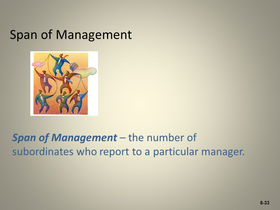8-33 Span of Management Span of Management – the number of subordinates who report to a particular manager.