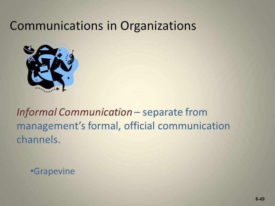 8-49 Communications in Organizations Informal Communication – separate from managements formal, official communication channels. Grapevine