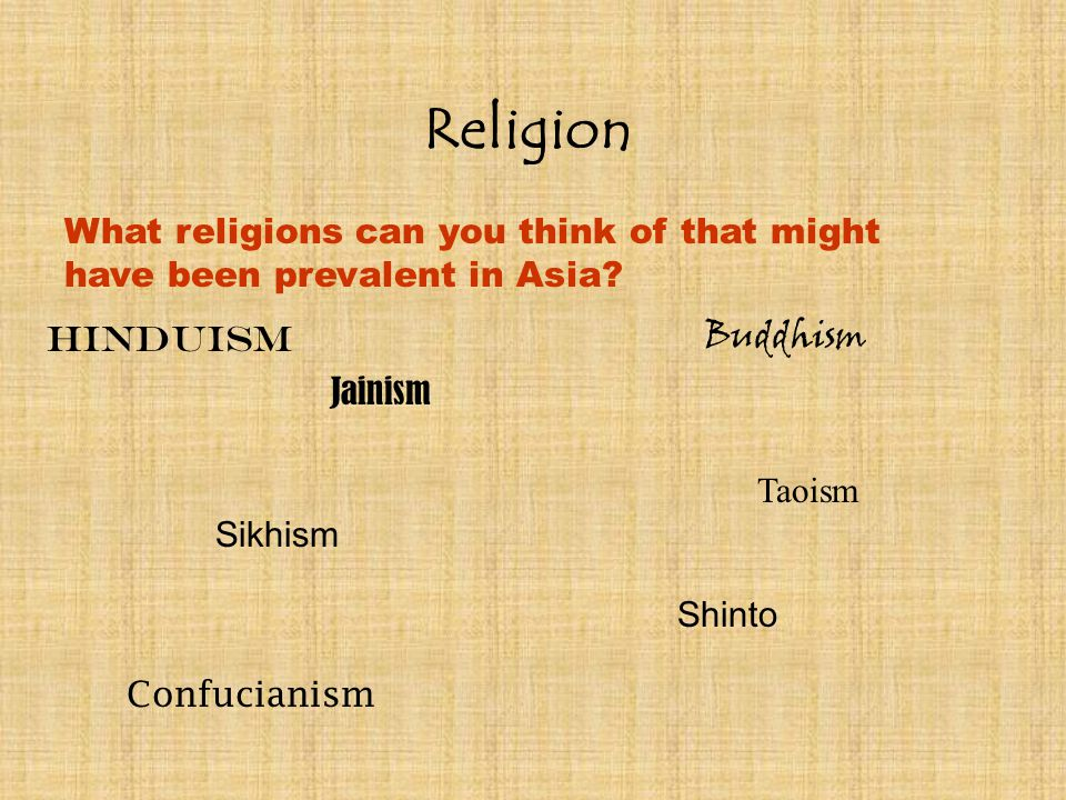 Religion What religions can you think of that might have been prevalent in Asia.