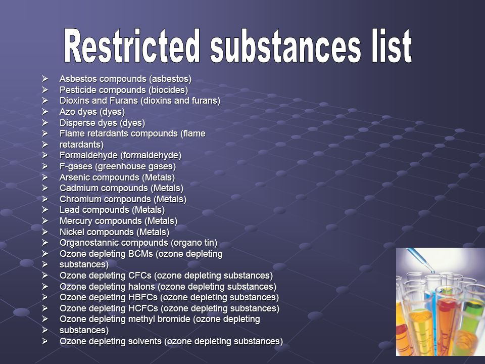 Asbestos compounds (asbestos) Asbestos compounds (asbestos) Pesticide compounds (biocides) Pesticide compounds (biocides) Dioxins and Furans (dioxins