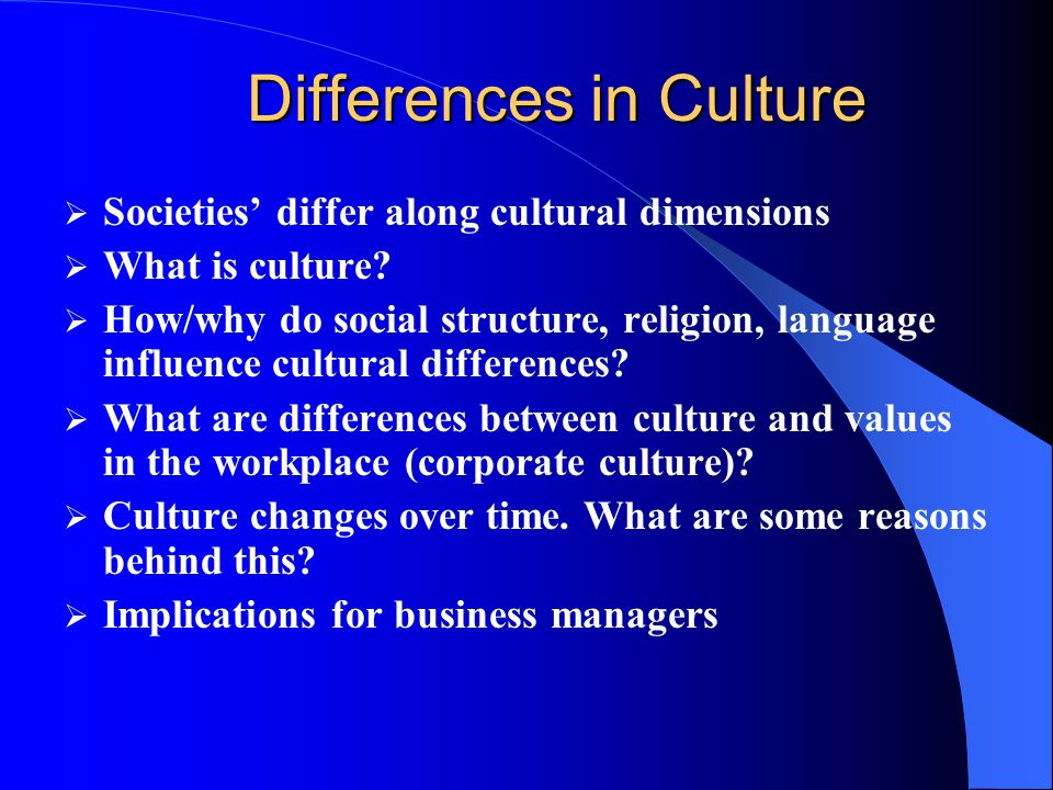 Societies differ along cultural dimensions What is culture.