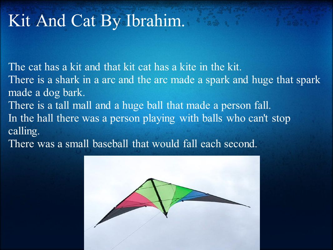 Kit And Cat By Ibrahim. The cat has a kit and that kit cat has a kite in the kit.