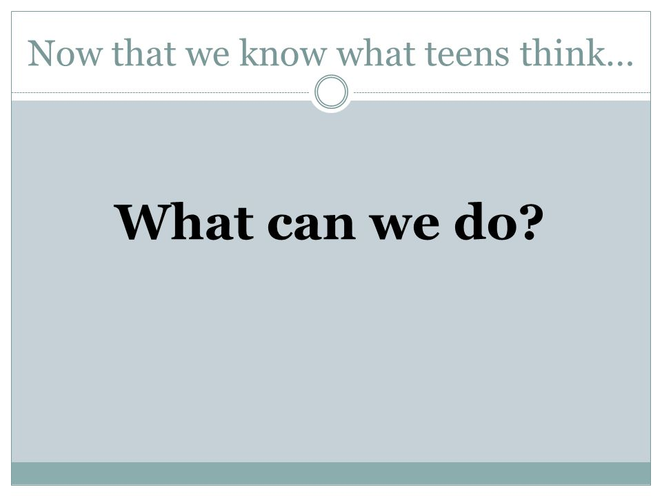 Now that we know what teens think… What can we do?