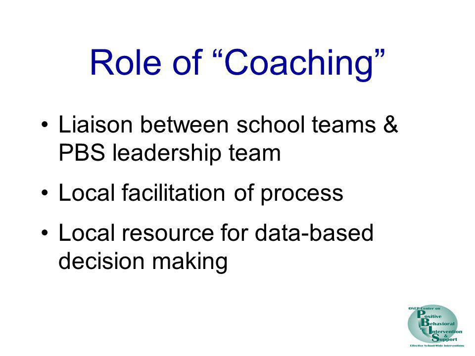 Role of Coaching Liaison between school teams & PBS leadership team Local facilitation of process Local resource for data-based decision making