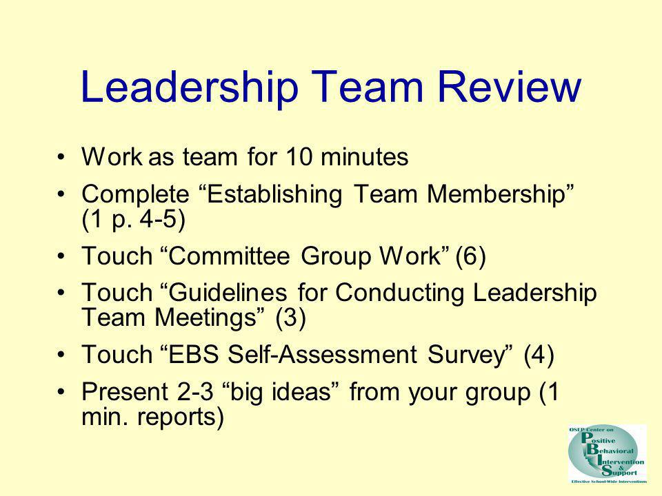 Work as team for 10 minutes Complete Establishing Team Membership (1 p. 4-5) Touch Committee Group Work (6) Touch Guidelines for Conducting Leadership