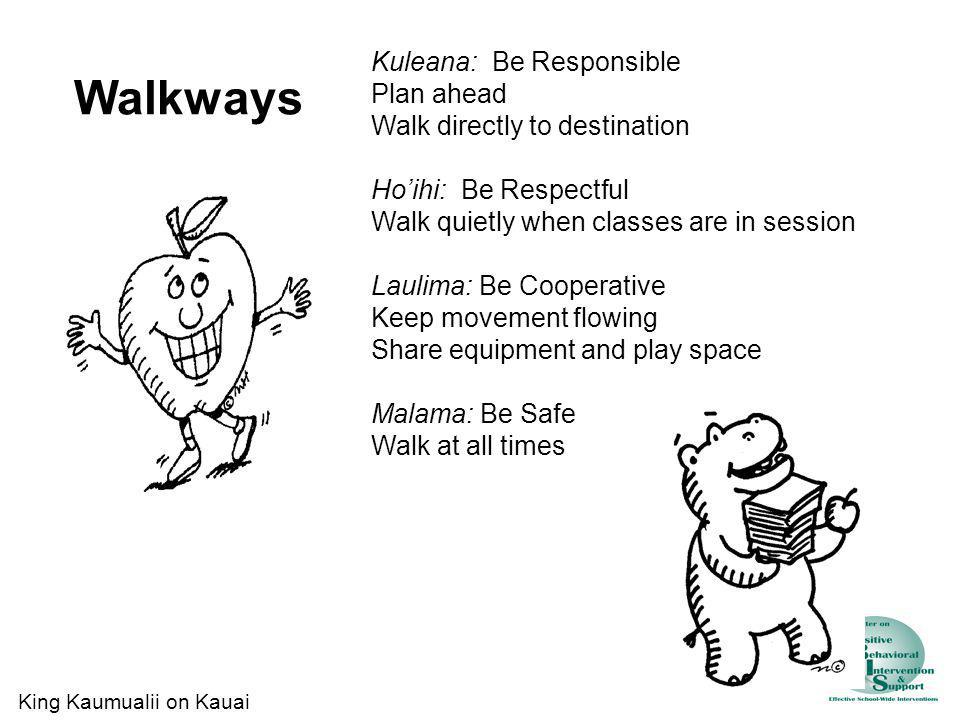 Walkways Kuleana: Be Responsible Plan ahead Walk directly to destination Hoihi: Be Respectful Walk quietly when classes are in session Laulima: Be Coo