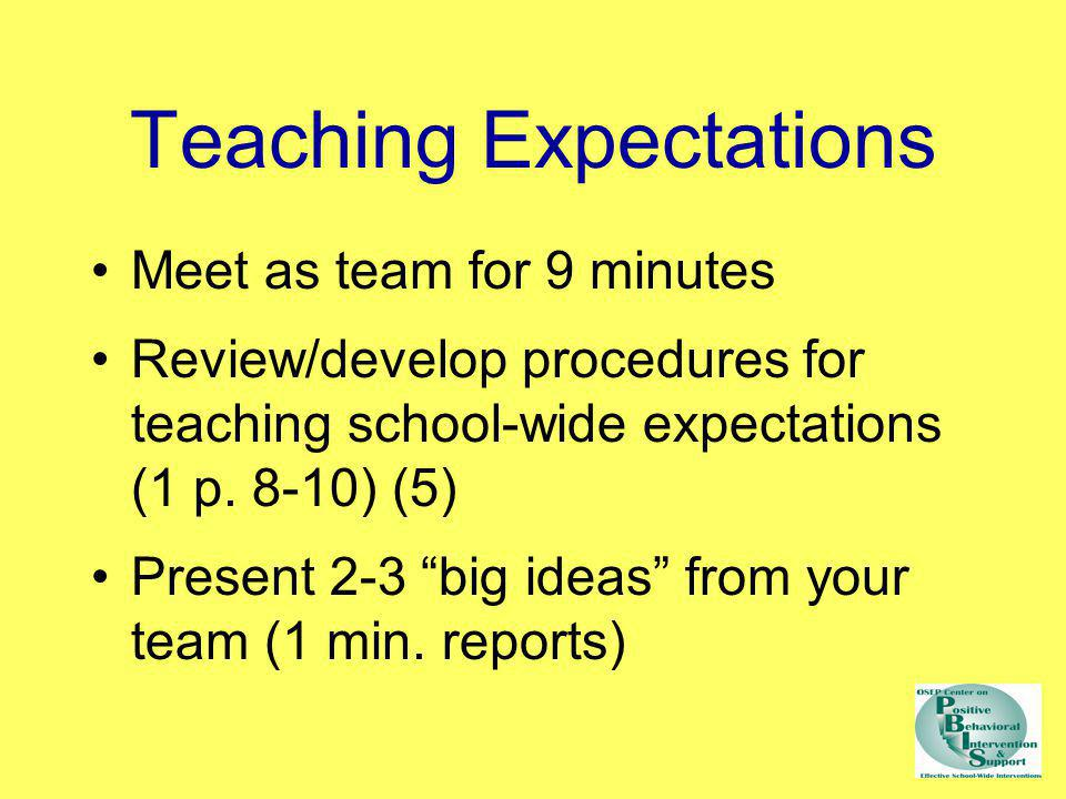 Teaching Expectations Meet as team for 9 minutes Review/develop procedures for teaching school-wide expectations (1 p. 8-10) (5) Present 2-3 big ideas