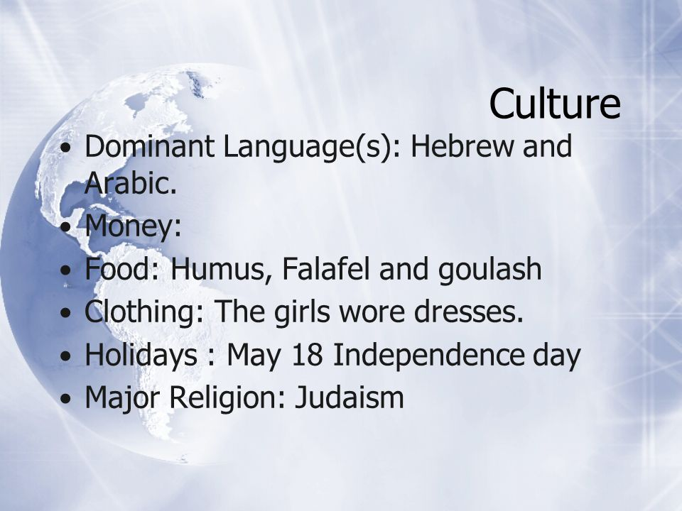 Culture Dominant Language(s): Hebrew and Arabic.