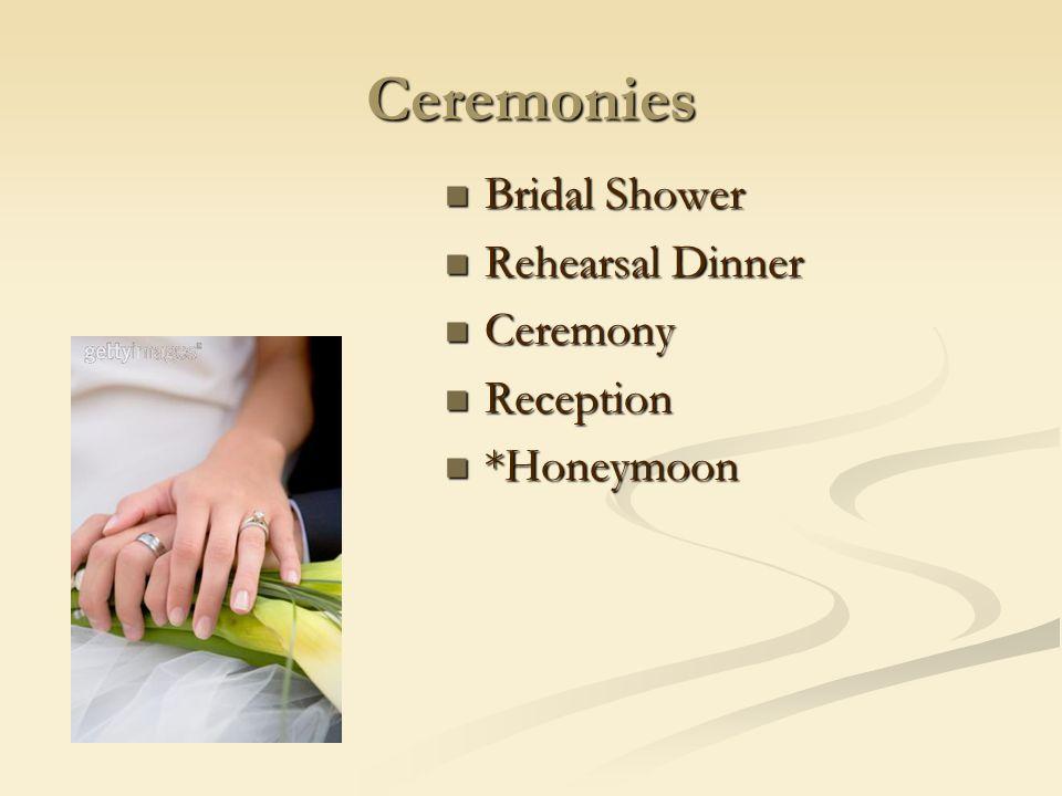 Ceremonies Bridal Shower Bridal Shower Rehearsal Dinner Rehearsal Dinner Ceremony Ceremony Reception Reception *Honeymoon *Honeymoon
