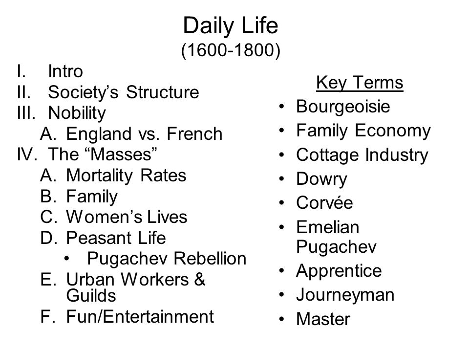 Daily Life (1600-1800) I.Intro II.Societys Structure III.Nobility A.England vs.
