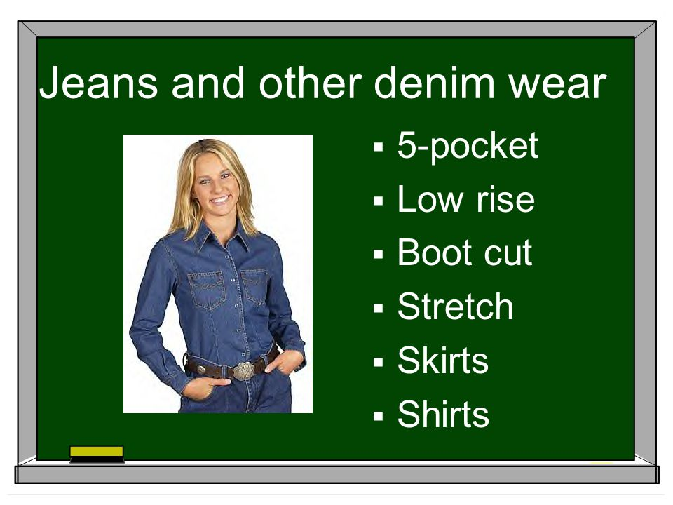 Jeans and other denim wear 5-pocket Low rise Boot cut Stretch Skirts Shirts