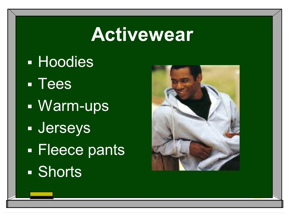 Activewear Hoodies Tees Warm-ups Jerseys Fleece pants Shorts
