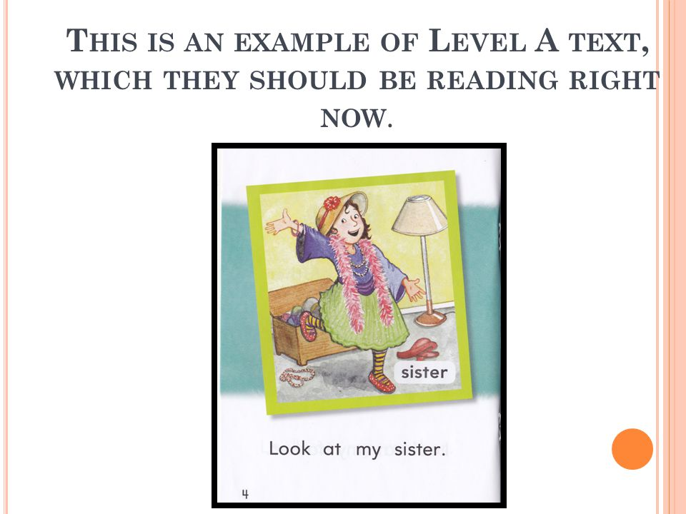 T HIS IS AN EXAMPLE OF L EVEL A TEXT, WHICH THEY SHOULD BE READING RIGHT NOW.
