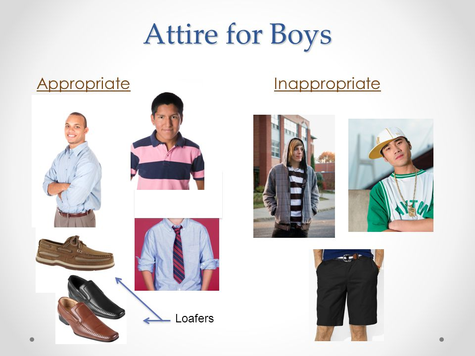 Attire for Boys AppropriateInappropriate Loafers